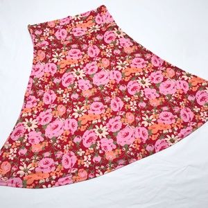 LuLaRoe Azure Skirt Red with Roses Size Large